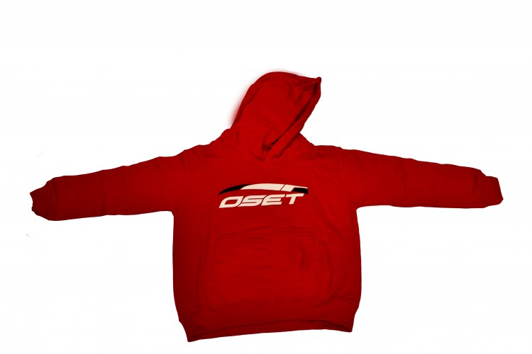 Junior hoodie in red with OSET logo